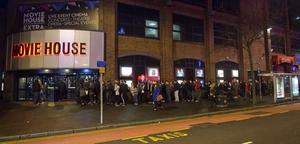 "Pacemaker press 16/12/2015 Hundreds of Star Wars fans queue outside the Movie House on the Dublin road in order to see the latest  film "" The Force Awakens"". Picture Mark Marlow/pacemaker press"