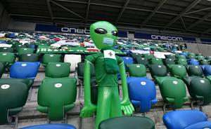 PACEMAKER PRESS BELFAST 07/09/20   Northern Ireland v  Norway UEFA Nations League. Empty stands apart from one inflatable for  this evening's game  at the National Football Stadium at Windsor Park in Belfast . Pic Colm Lenaghan/Pacemaker