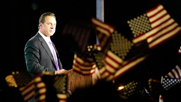 New York governor Andrew Cuomo looks on after speaking in support of Democratic presidential nominee Hillary Clinton during election night outside the Jacob K. Javits Convention Center in New York on November 8, 2016.  / AFP PHOTO / Kena BetancurKENA BETANCUR/AFP/Getty Images