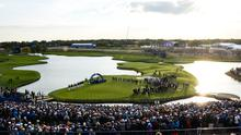 The 18th green after Europe won the Ryder Cup last year - Le Golf National
