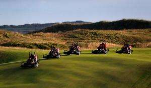 Lawnmowers on course during day two of The Open Championship 2019 at Royal Portrush Golf Club. PRESS ASSOCIATION Photo. Picture date: Friday July 19, 2019. See PA story GOLF Open. Photo credit should read: Niall Carson/PA Wire. RESTRICTIONS: Editorial use only. No commercial use. Still image use only. The Open Championship logo and clear link to The Open website (TheOpen.com) to be included on website publishing.