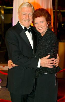 Michael Parkinson and Cilla Black arrive for the Bob Monkhouse BAFTA Tribute at BBC Television Centre in west London in 2004. Yui Mok/PA Wire.