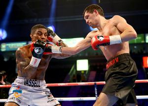 28th February 2015   ?William Cherry/Presseye  Denton Vassell with Viktor Plotnikov during Saturday nights vacant IBF Intercontinental Welterweight title contest at the Odyssey arena, Belfast.