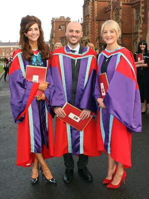 Mandatory Credit - Picture by Freddie Parkinson/Press Eye © Thursday 8th December 2016 Graduations take place at Queens University in Belfast. Naeve McAllister from Killreagh, Lorenzo Fusco from Itlay and Linda Mawhinney from Magherfelt