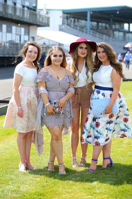 Press Eye - Belfast - Northern Ireland 1st May 2017 - Photo by Kelvin Boyes / Press Eye. Emma McAlindon, Dearbhile MMcClean, Aoibhin McCool and Gemma Maguire pictured at the Daily Mirror May Day Meeting at Down Royal Racecourse
