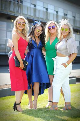 Press Eye - Belfast - Northern Ireland 1st May 2017 - Photo by Kelvin Boyes / Press Eye. Raffy Smyth, Devany Wallace, Fodhla Gallagher and Hannah Gallagher pictured at the Daily Mirror May Day Meeting at Down Royal Racecourse
