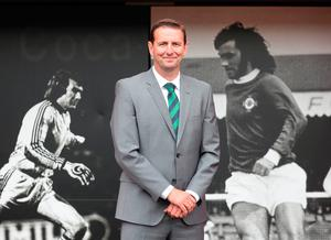 Tough act: New Northern Ireland manager Ian Baraclough, pictured on his first day at Windsor Park yesterday, will be following in some big footsteps