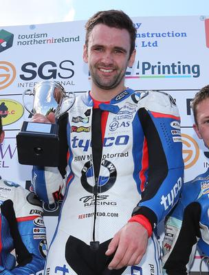 PACEMAKER, BELFAST, 25/7/2015: William Dunlop (CD Racing Yamaha) celebrates winning the 600cc race ahead of  Guy Martin (Tyco Suzuki) and Dean Harrison (Mar Train Yamaha) at the Armoy road races today. PICTURE BY STEPHEN DAVISON