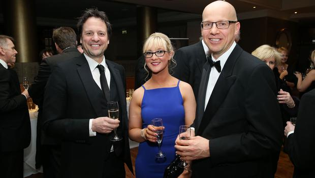 Richard Ennis, Alyson English and Richard Gillan at the Institute of Directors NI Annual Dinner at the Europa Hotel on Thursday night. Sponsored by Bank of Ireland and Arthur Cox, the event is the highlight of the local business calendar and was attended by over 250 people.  Picture by Kelvin Boyes / Press Eye.