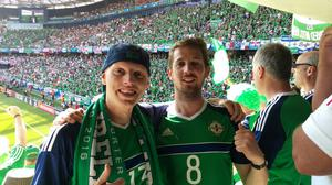 Mark Hunter (left) from Coleraine who now lives in Vancouver and Matt Livingstone from Coleraine who now lives in London at the Northern Ireland v Poland game on Sunday