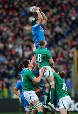 ROME, ITALY - MARCH 16:  Francesco Minto of Italy goes up in the lineout during the RBS Six Nations match between Italy and Ireland at Stadio Olimpico on March 16, 2013 in Rome, Italy.  (Photo by Paolo Bruno/Getty Images)