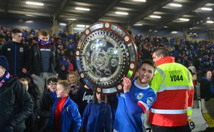 PACEMAKER BELFAST  07/02/2017 Linfield v Crusaders Co Antrim Shield Final. Linfield's Paul Smyth pictured with the shield. Linfield winners of  this evenings final at warden Street in Ballymena. Picture By: Arthur Allison/Pacemaker Press
