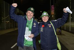 12th November 2020 Northern Ireland fans pictured as they arrive at the National Stadium in Belfast ahead of tonights game against Slovakia Raymond Lowry and Deborah Maxwell from Castlederg Mandatory Credit : Stephen Hamilton