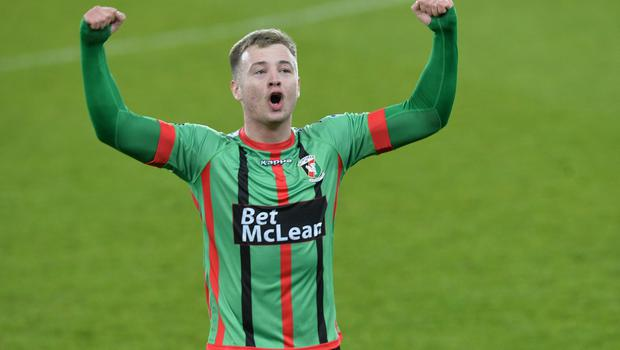 PACEMAKER BELFAST  09/05/2018 Linfield v Glentoran  Europa league play off semi final GlentoranÕs Dylan Davidson  celebrates after this evenings game at Windsor park. Photo Colm Lenaghan/Pacemaker Press