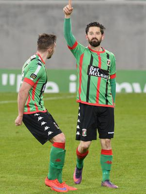 PACEMAKER BELFAST  09/05/2018 Linfield v Glentoran  Europa league play off semi final Glentoran's Curtis Allen scores   during this evenings game at Windsor park. Photo Colm Lenaghan/Pacemaker Press