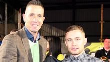 Carl Frampton is a lifelong fan of Crusaders, managed by Stephen Baxter (left).