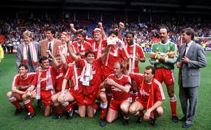 Historic afternoon: Liverpool's jubilant players hail the club's last league title success 30 years ago today