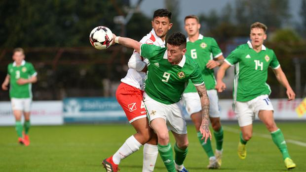 Pacemaker Press 6/09/19 Northern Ireland  v Malta U21 Euro Qualifier  N Ireland's David Parkhoue    and Malta's  Nicholas Pulis  during this evening's game at the Ballymena Showgrounds.  Pic Colm Lenaghan/Pacemaker