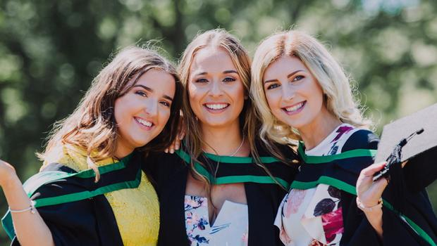 Pictured at the Ulster University Summer Graduations 2018 at Coleraine is Megan Adams, Kirsty Brown & Rachael Armstrong graduating in Business & Marketing. Picture John Murphy Aurora PA.