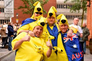Australia fans in fancy dress before the Rugby World Cup match at the Millennium Stadium, Cardiff. Photo: PA