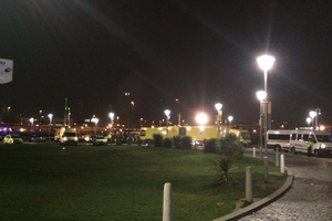 The scene tonight at the Odyssey Arena in Belfast amid a 'major incident'. Pic Marc Mallett UTV