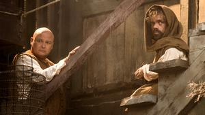 Conleth Hill as Varys and Peter Dinklage as Tyrion Lannister. Photo Credit: Helen Sloan/HBO