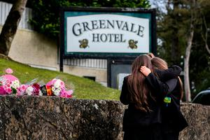 Friends leave floral tributes outside Greenvale Hotel in Cookstown