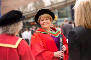 Janice Smyth, Director, Royal College of Nursing in Northern Ireland, received the honorary degree of Doctor of Science (DSc) for distinguished services to nursing. (Photo: Nigel McDowell/Ulster University)