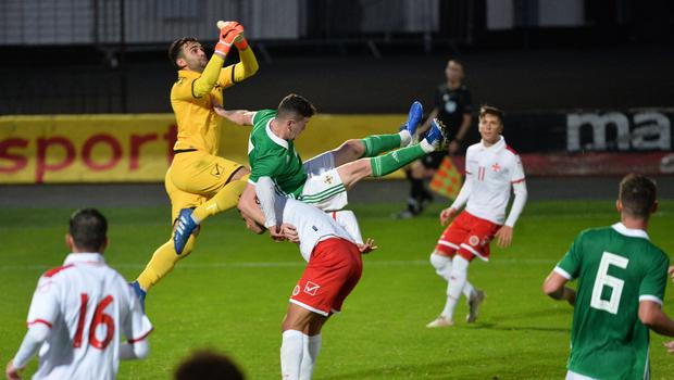 Pacemaker Press 6/09/19 Northern Ireland  v Malta U21 Euro Qualifier  N Ireland's  Kofi Balmer  and Malta's Andreas Vella  during this evening's game at the Ballymena Showgrounds.  Pic Colm Lenaghan/Pacemaker