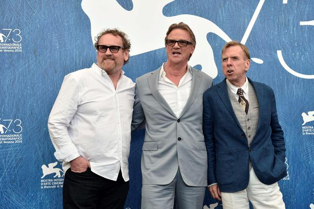 "Director Nick Hamm (C), actors Timothy Spall (R) and Colm Meaney attend the photocall of the movie ""The Journey"" presented out of competition at the 73rd Venice Film Festival on September 7, 2016 at Venice Lido.TIZIANA FABI/AFP/Getty Images"