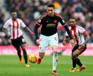 SUNDERLAND, ENGLAND - FEBRUARY 13: Chris Smalling of Manchester United in action during the Barclays Premier League match between Sunderland and Manchester United at the Stadium of Light on February 13, 2016 in Sunderland, England.  (Photo by Clive Brunskill/Getty Images)