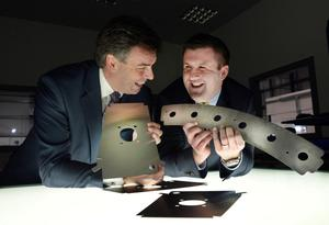 Invest NI's chief executive Alastair Hamilton (left) with Hutchinson Engineering's Mark Hutchinson