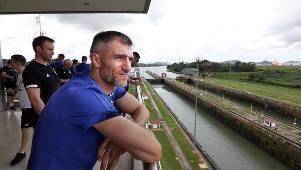 Press Eye - Belfast -  Northern Ireland - 28th May 2018 - Photo by William Cherry/Presseye  Northern Ireland's Aaron Hughes at the Panama Canal on Monday morning as part of their summer tour to Panama and Cost Rica. The Canal is a 77.1-kilometre ship canal in Panama that connects the Atlantic Ocean to the Pacific Ocean. Photo by William Cherry/Presseye