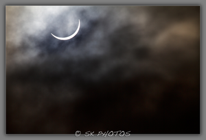 The solar eclipse taken in Carryduff this morning at about 09:30. Pic. Stephen Kerr.