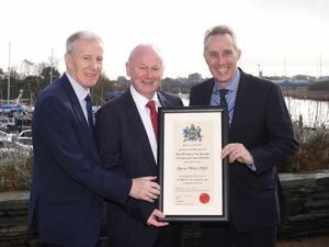 The new Freeman of the Borough of the Causeway Coast and Glens Mervyn Whyte pictured with Gregory Campbell MP and Ian Paisley MP. Picture McAuley Multimedia