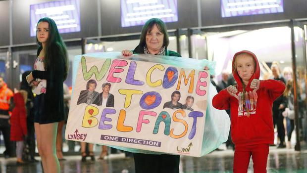 One Direction cancel Belfast gig: Pictured is Corinne Davison with Lynesy Davison from Carryduff at the scene at the SSE arena in Belfast. Photo: Kevin Scott