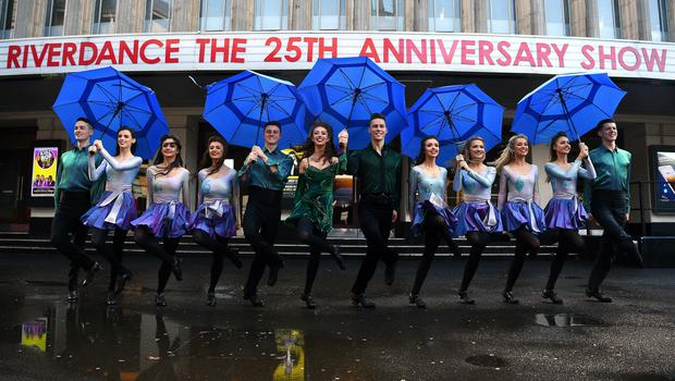 The cast of dancers, who were not born when the original show opened in 1995, during the launch of the Riverdance updated show (Kirsty O'Connor/PA)