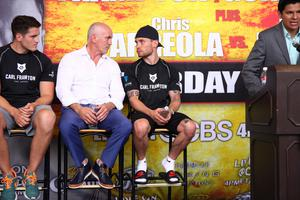 Press Eye - Belfast -  Northern Ireland - 1t6h July 2015 - Shane McGuigan (left), Barry McGuigan (middle), and Carl Frampton (right, black) during a press conference held in El Paso, Texas at the Don Haskins Center Picture by Jorge Salgado / Press Eye