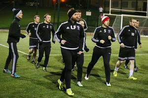 Gearing up: Lee Feeney leads his Rathfriland team-mates as they prepare to face Crusaders in the Irish Cup