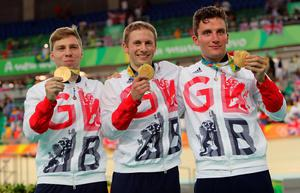 File photo dated 11/08/16 of Great Britain's Philip Hindes, Jason Kenny and Callum Skinner with their gold medals following the Men's team sprint final on the sixth day of the Rio Olympics Games, Brazil. PRESS ASSOCIATION Photo. Issue date: Friday August 12, 2016. Great Britain has got off to a flying start at the velodrome after scooping gold in the men's team sprint at the Rio Olympics. See PA story SPORT Olympics. Photo credit should read: David Davies/PA Wire   EDITORIAL USE ONLY