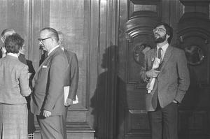 Gerry Adams after winning West Belfast seat at Westminster. Pictured at Belfast City Hall. Pacemaker Press Intl.  10/6/83.  532/83/BW