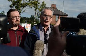 Pacemaker Press 12/7/2017 Sinn Fein MLA Gerry Kelly Speaks to the media after A feeder Parade passes the Ardoyne Shops on North Belfast , The 12th of July Parade passed threw peacefully with no Protests. Pic Colm Lenaghan/Pacemaker