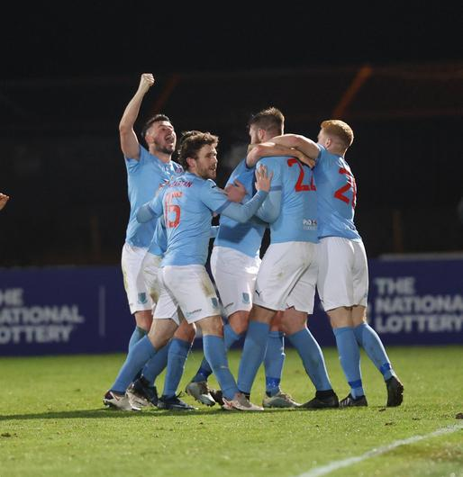 Conor Keeley celebrates his winner for Ballymena against Linfield (Desmond  Loughery/Pacemaker Press)