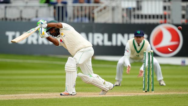 Bail out: Asad Shafiq is clean bowled by Ireland's Tim Murtagh