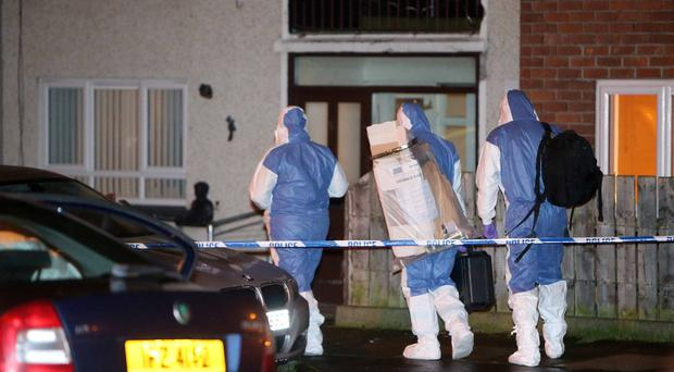 04/01/20 Police and forensics at the scene of an incident in Carrickfergus in County Antrim.Pic Steven McAuley/McAuley Multimedia