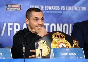 Scott Quigg pictured at Thursdays press conference in Manchester ahead of Saturday nights World Super-Bantamweight unification clash at the Manchester Arena. Press Eye - Belfast -  Northern Ireland - 25th February 2016 - Photo by William Cherry