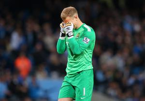 Joe Hart of Manchester City reacts during the Barclays Premier League match between Manchester City and Sunderland at Etihad Stadium on April 16, 2014 in Manchester, England.  (Photo by Alex Livesey/Getty Images)