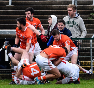 Scrappy game: Armagh and Tyrone players in 2015 flashpoint. Photo: Russell Pritchard/Presseye