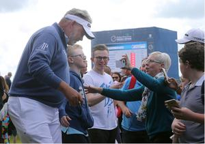 PACEMAKER BELFAST  05/07/2017 Wednesday is the PRO AM at the Dubai Duty Free Irish Open at Portstewart Golf Club. Local hero Darren Clarke is a big hit with the fans on the first tee