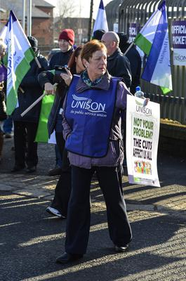 "?Russell Pritchard  13th March 2015 Public services in Northern Irelands are being disrupted by a strike by some public sector trade unions.  The strike is affecting education, public transport and administration.  The Department of Health has said arrangements have been put in place to ensure ""critical services will be maintained"".  ?Russell Pritchard / Presseye"